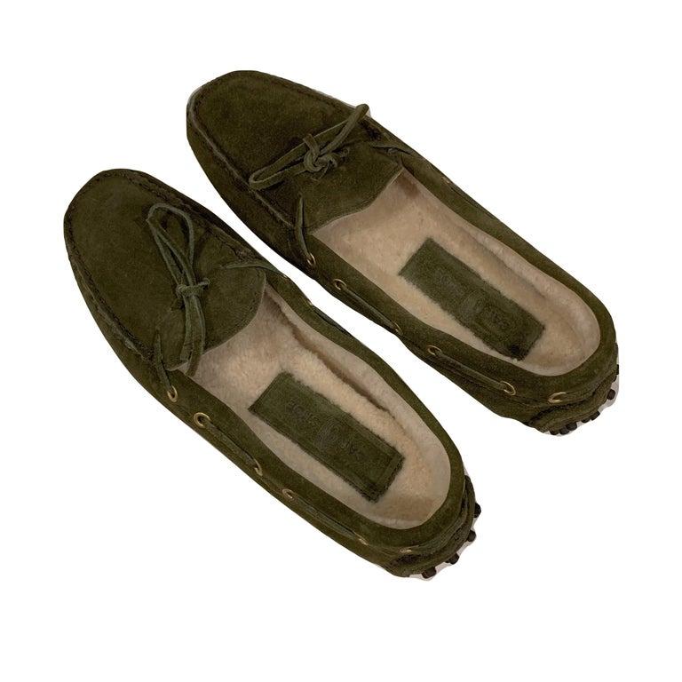New The Original Prada Car Shoe Flat Moccasin Shearling House Driving  Sz 37 For Sale 1