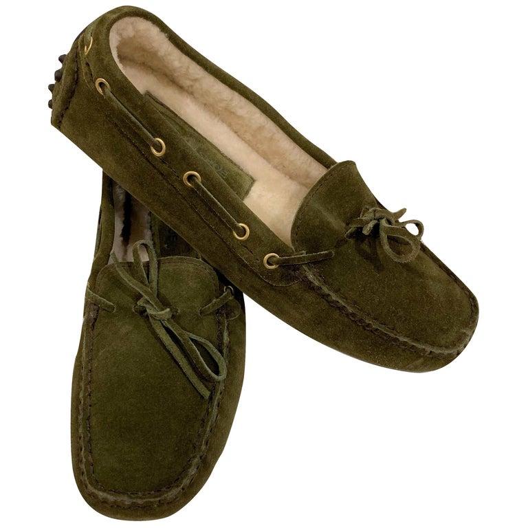 New The Original Prada Car Shoe Flat Moccasin Shearling House Driving  Sz 37 For Sale