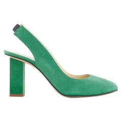new THOM BROWNE green suede leather round toe slingback block heel EU37.5 US7.5