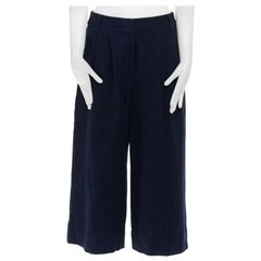 new TIBI New York 100% cotton many blue pleated from wide leg cropped pants US4