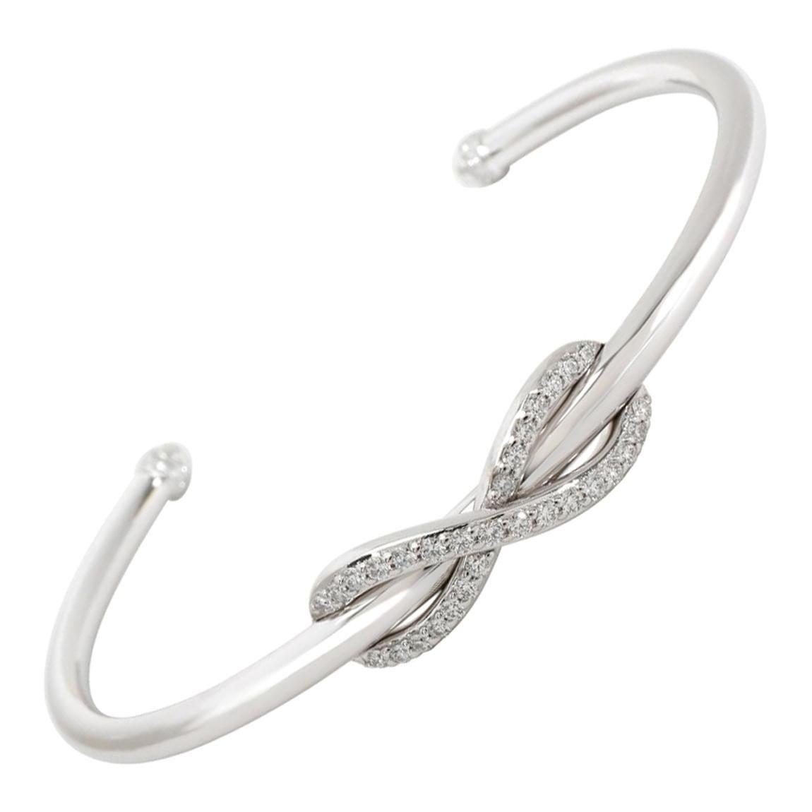 New Tiffany & Co. Infinity 18k White Gold Cuff Bracelet 'Medium Size'