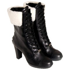 New Tod's Shearling Black Leather Boots Booties Sz 37