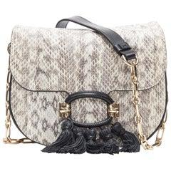 new TOD'S T-Ring Mini grey scaled leather black tassel gold chain crossbody bag
