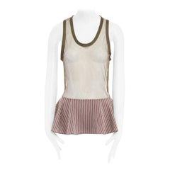 new TOGA PULLA khaki green mesh striped nylon ruffle hem tank top vest IT38 XS