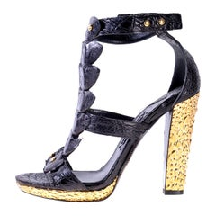 New Tom Ford Black Alligator T-bar sandals with metallic gold heel