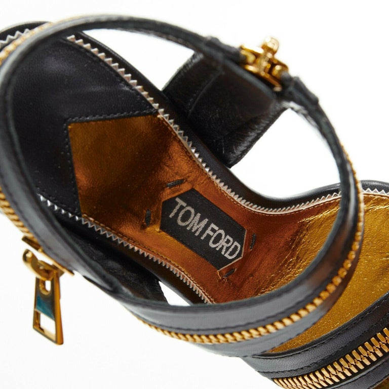 new TOM FORD black gold XL zipper design dual strap metal pin heel sandal EU36 For Sale 5
