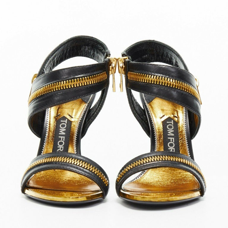 Black new TOM FORD black gold XL zipper design dual strap metal pin heel sandal EU36 For Sale