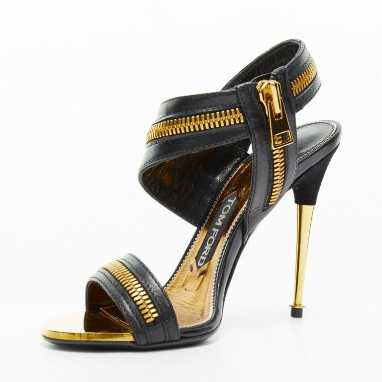 new TOM FORD black gold XL zipper design dual strap metal pin heel sandal EU36 In Good Condition For Sale In Hong Kong, NT