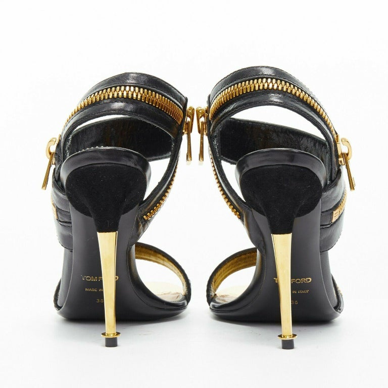 Women's new TOM FORD black gold XL zipper design dual strap metal pin heel sandal EU36 For Sale
