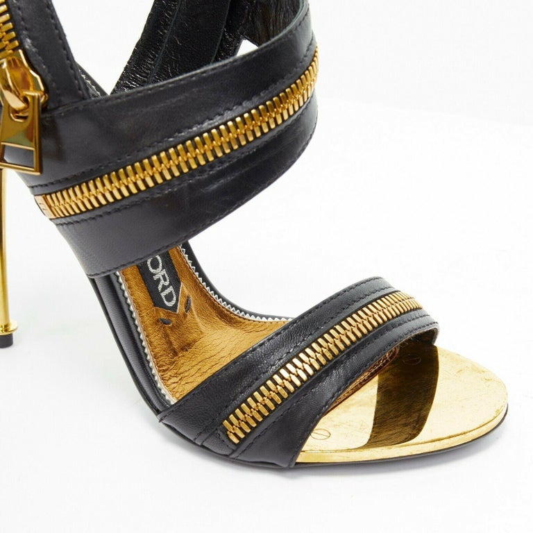 new TOM FORD black gold XL zipper design dual strap metal pin heel sandal EU36 For Sale 2