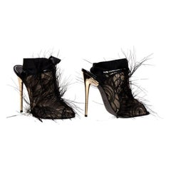 New Tom Ford Black Lace and Feather Shoes as seen on stars