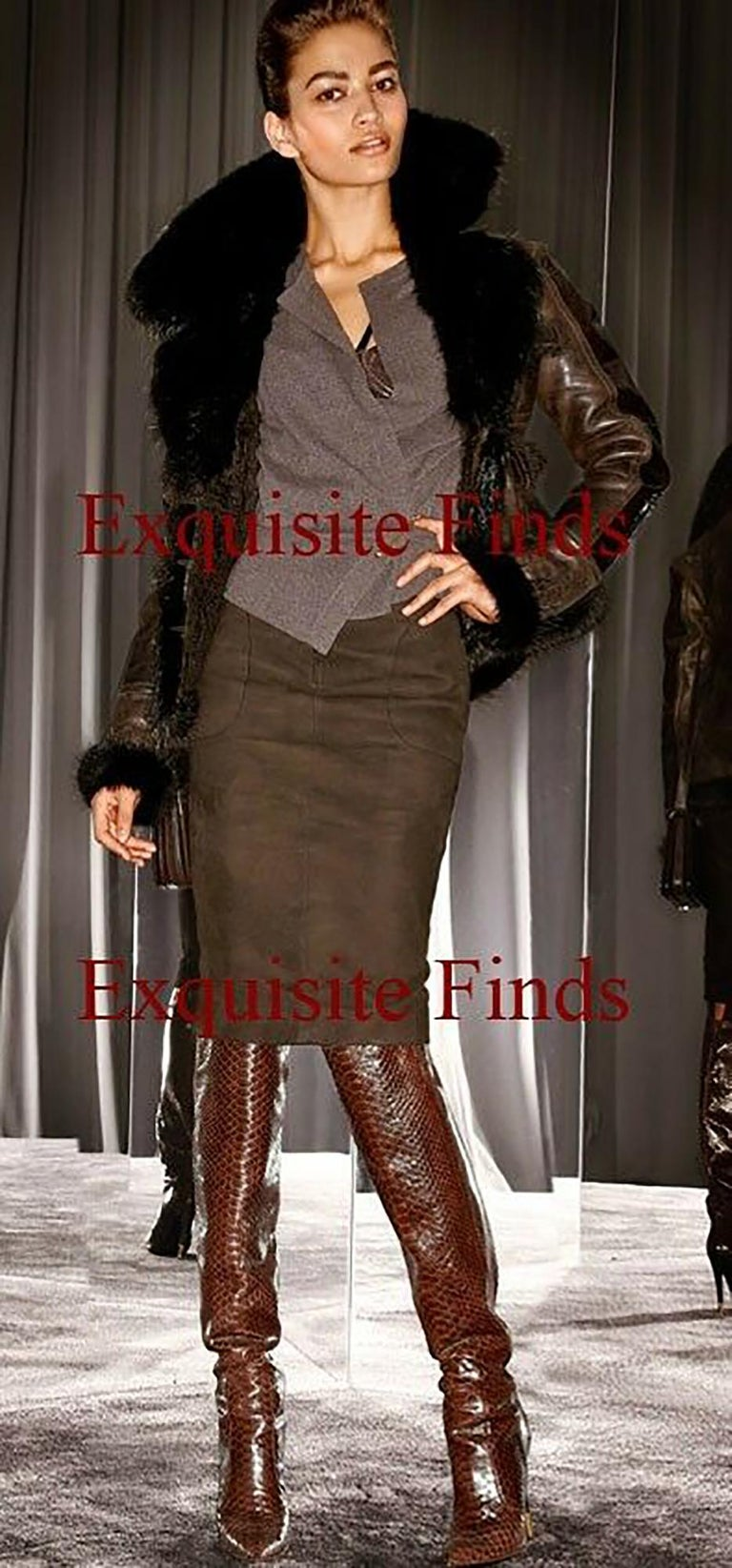 Black NEW TOM FORD BROWN ANACONDA OVER THE KNEE Boots 38.5 - 8.5 For Sale