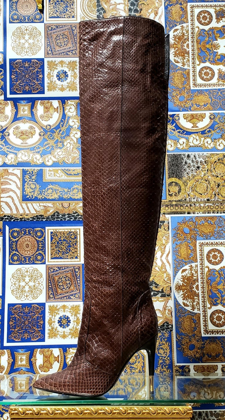 Women's NEW TOM FORD BROWN ANACONDA OVER THE KNEE Boots 38.5 - 8.5 For Sale