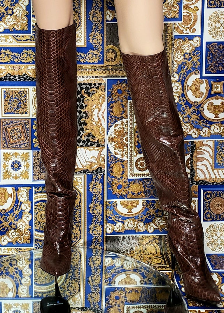 NEW TOM FORD BROWN ANACONDA OVER THE KNEE Boots 38.5 - 8.5 For Sale 1