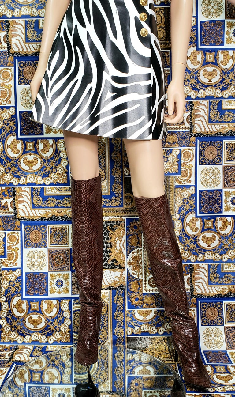 NEW TOM FORD BROWN ANACONDA OVER THE KNEE Boots 38.5 - 8.5 For Sale 2