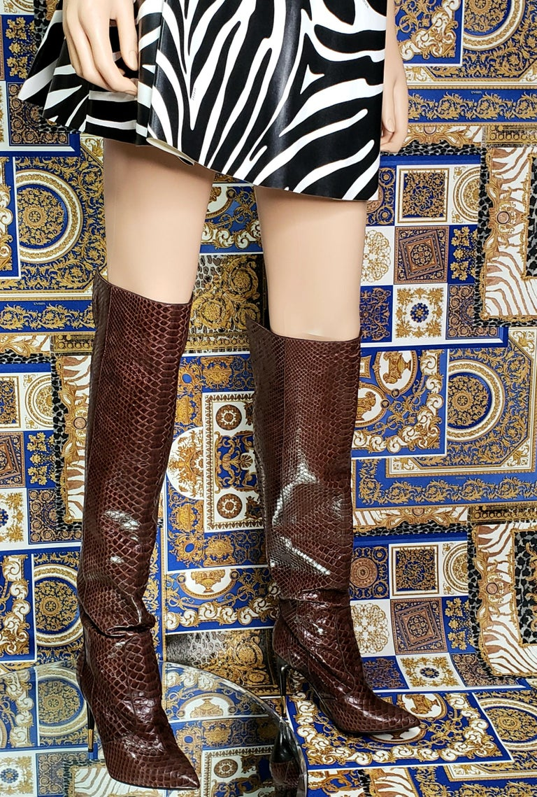 NEW TOM FORD BROWN ANACONDA OVER THE KNEE Boots 38.5 - 8.5 For Sale 3