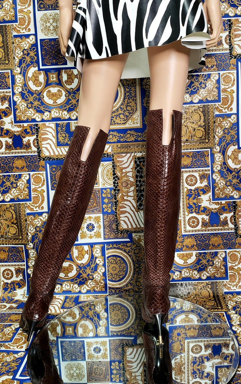 NEW TOM FORD BROWN ANACONDA OVER THE KNEE Boots 38.5 - 8.5 For Sale 4