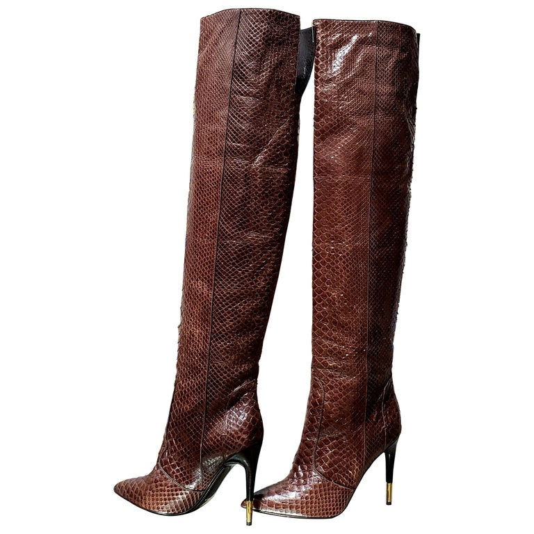 NEW TOM FORD BROWN ANACONDA OVER THE KNEE Boots 38.5 - 8.5 For Sale