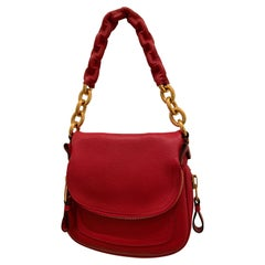 New Tom Ford Crimson Textured Leather Saddlebag-Style Shoulder Bag W/ Gold Chain
