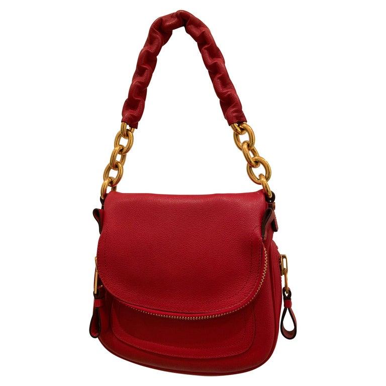 New Tom Ford Crimson Textured Leather Saddlebag-Style Shoulder Bag W/ Gold Chain For Sale