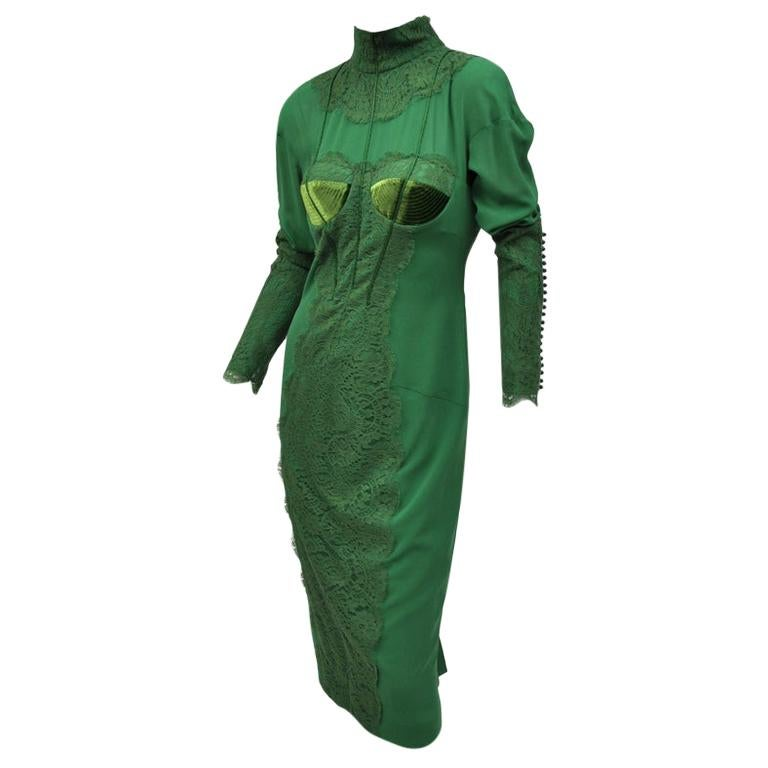 New TOM FORD EMERALD GREEN APPLIQUE LACE COCKTAIL DRESS For Sale