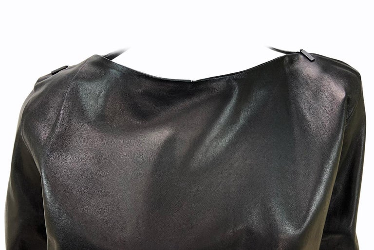 New Tom Ford for Gucci 2001 Collection Black Leather Blouson Top It. 44 - 8/10 In New Condition For Sale In Montgomery, TX