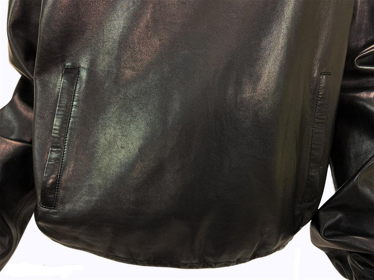 Women's New Tom Ford for Gucci 2001 Collection Black Leather Blouson Top It. 44 - 8/10 For Sale