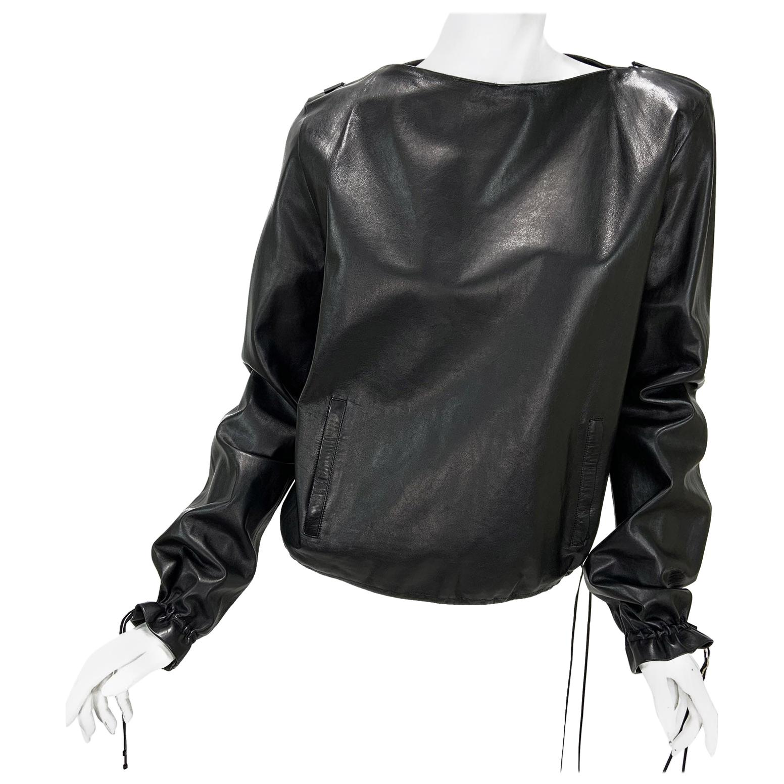 New Tom Ford for Gucci 2001 Collection Black Leather Blouson Top It. 44 - 8/10
