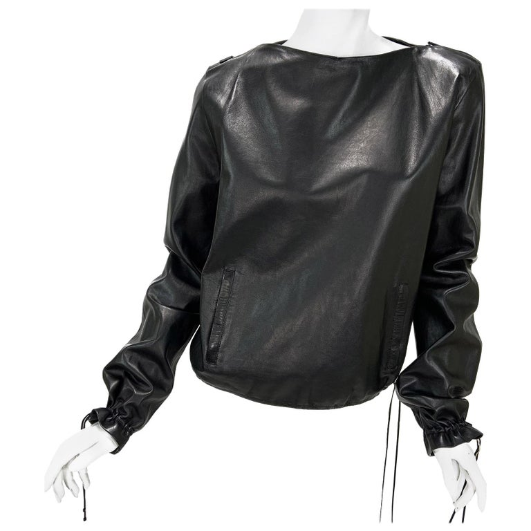 New Tom Ford for Gucci 2001 Collection Black Leather Blouson Top It. 44 - 8/10 For Sale