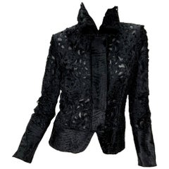 New Tom Ford for Gucci 2004 Collection Black Lamb Fur Laser Cut Jacket 42 - US 6