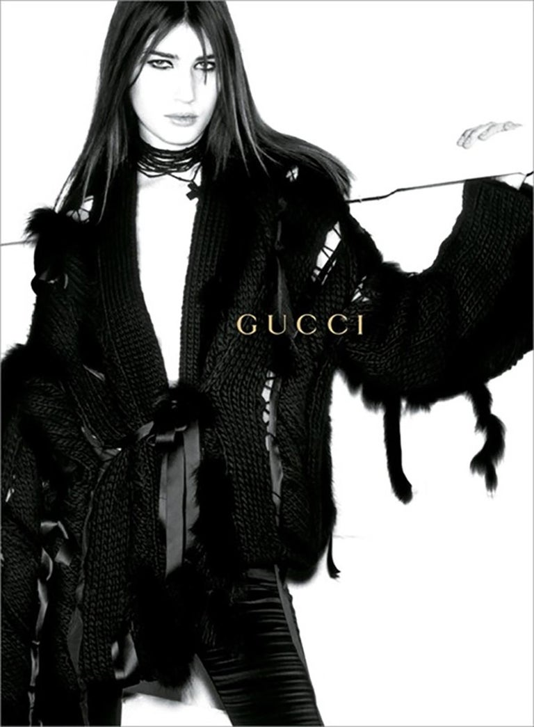 The Most Luxurious GUCCI Sweater Cardigan Ever! Extremely Rare! F/W 2002 Collection Size S ( oversize - will fit bigger sizes also) Color - Black, 80% Wool  Finished with Silk Ribbons and Genuine FOX Fur Trim Throughout  New without tag.