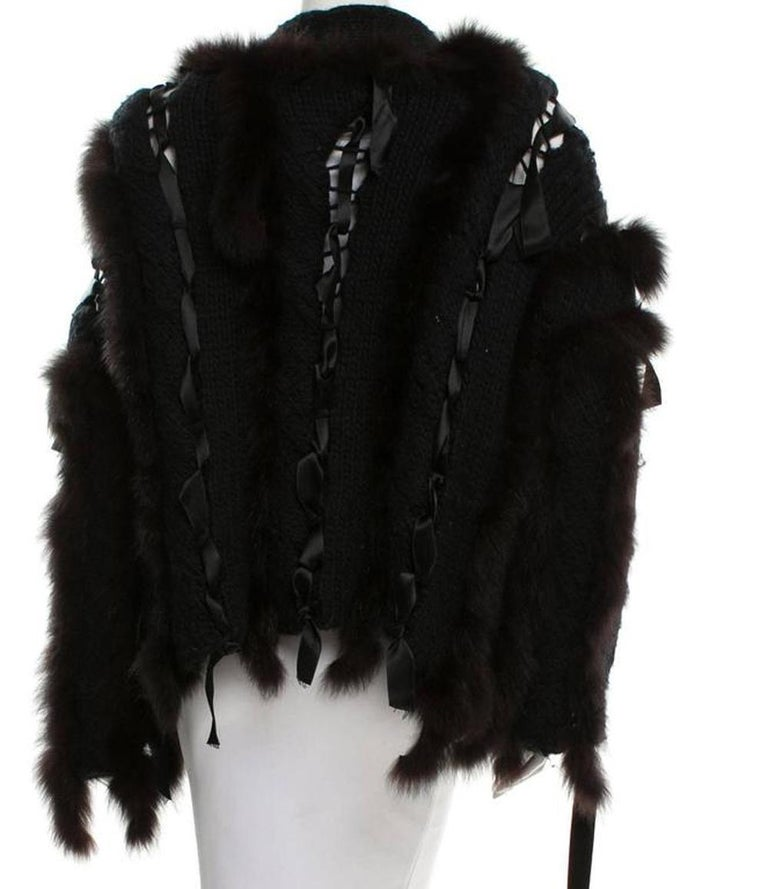 Women's New TOM FORD for GUCCI Black Wool Sweater Cardigan w/Ribbons and Fox Fur size S For Sale