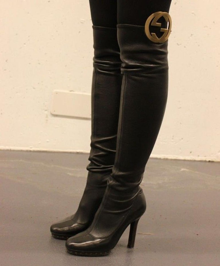 New Tom Ford for GUCCI Collectible Over the Knee GG Medallion Leather Boots 36.5 In New Condition For Sale In Montgomery, TX