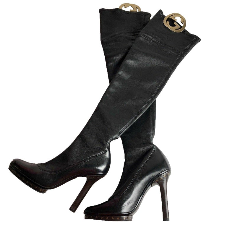 Women's New Tom Ford for GUCCI Collectible Over the Knee GG Medallion Leather Boots 36.5 For Sale