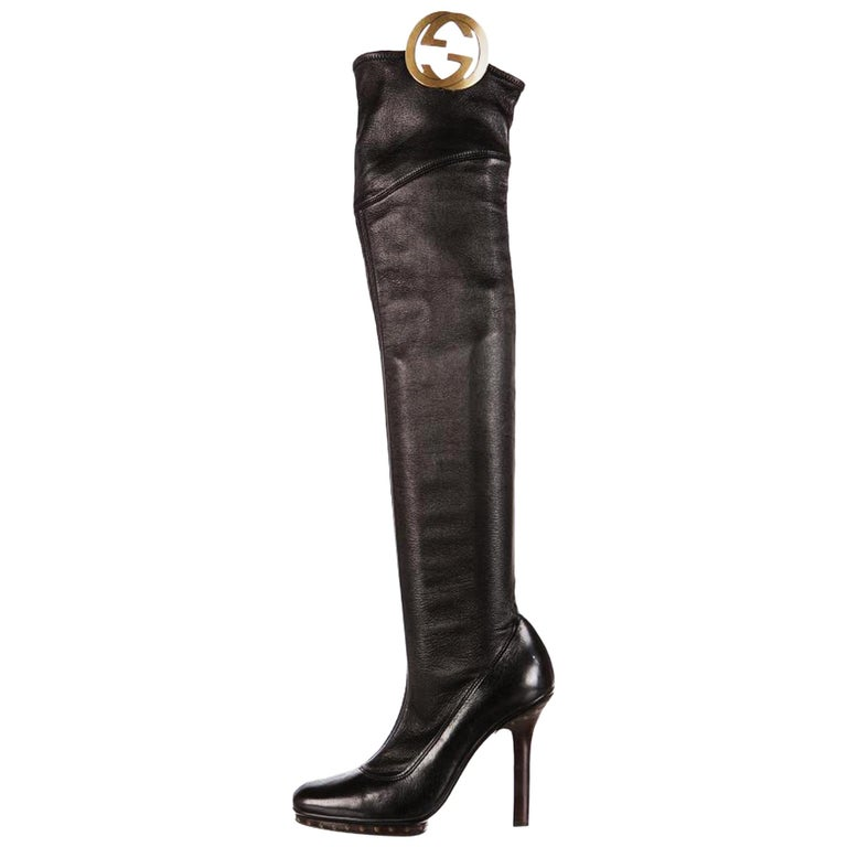 New Tom Ford for GUCCI Collectible Over the Knee GG Medallion Leather Boots 36.5 For Sale