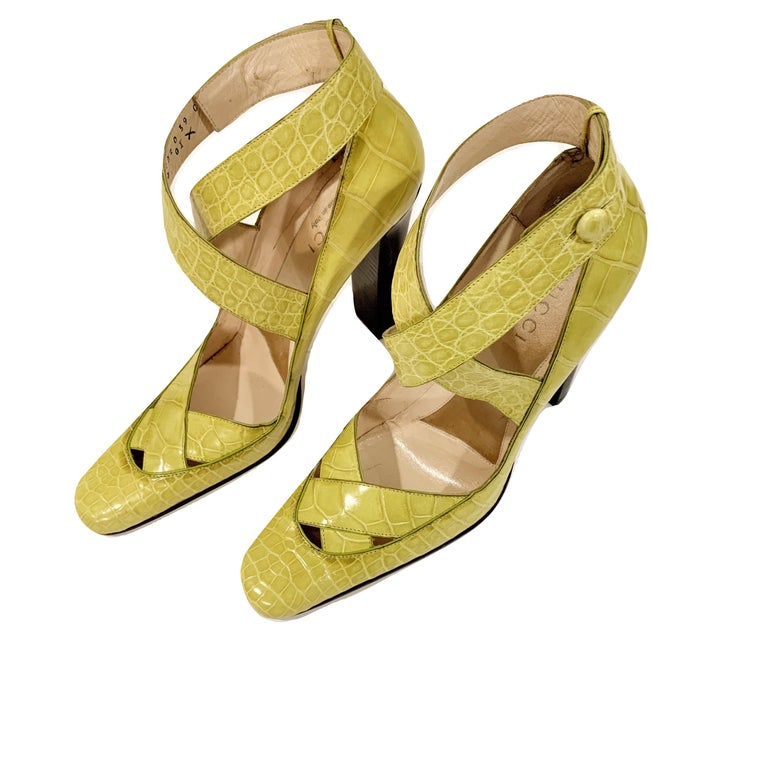 New Tom Ford for Gucci Crocodile Ballerina Heels Pumps in Light Chartreuse Sz 39 For Sale 7