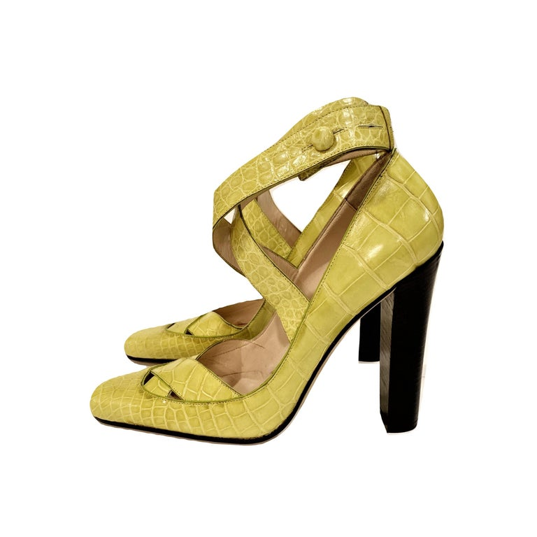 Women's New Tom Ford for Gucci Crocodile Ballerina Heels Pumps in Light Chartreuse Sz 39 For Sale