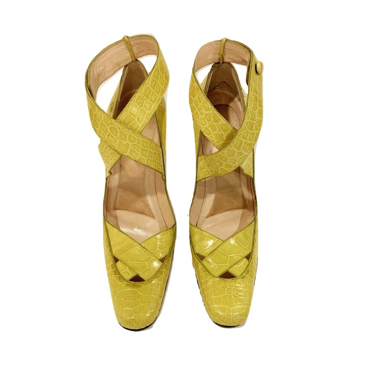 New Tom Ford for Gucci Crocodile Ballerina Heels Pumps in Light Chartreuse Sz 39 For Sale 11