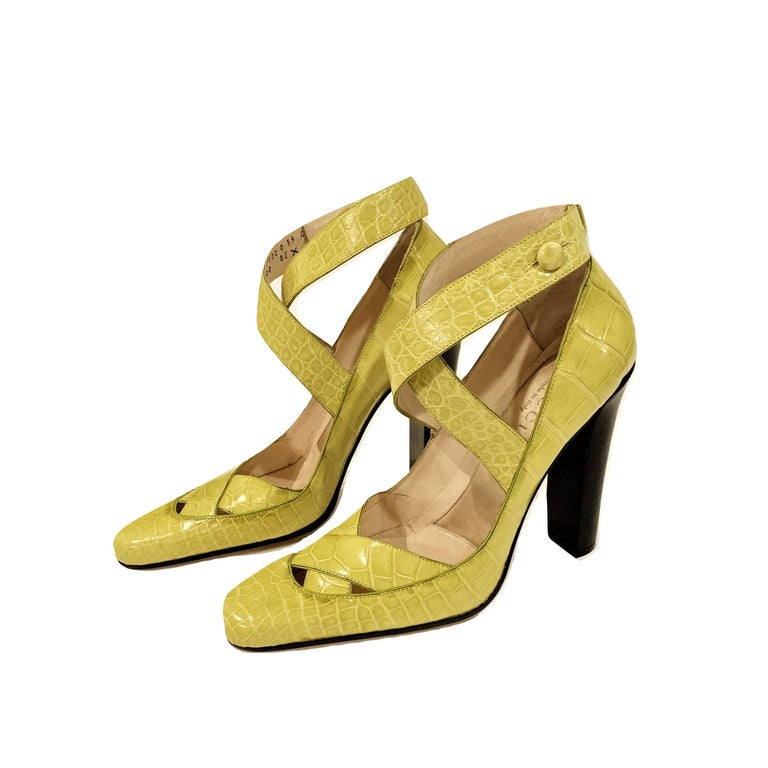 New Tom Ford for Gucci Crocodile Ballerina Heels Pumps in Light Chartreuse Sz 39 For Sale 4