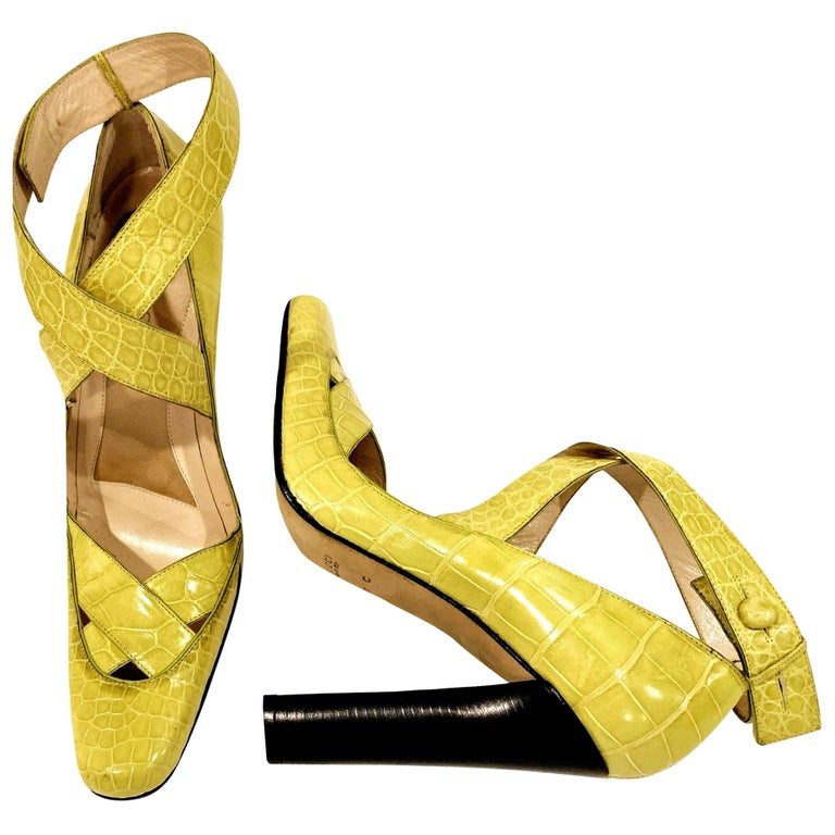 New Tom Ford for Gucci Crocodile Ballerina Heels Pumps in Light Chartreuse Sz 39 For Sale