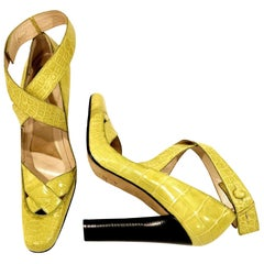 New Tom Ford for Gucci Crocodile Ballerina Heels Pumps in Light Chartreuse Sz 39