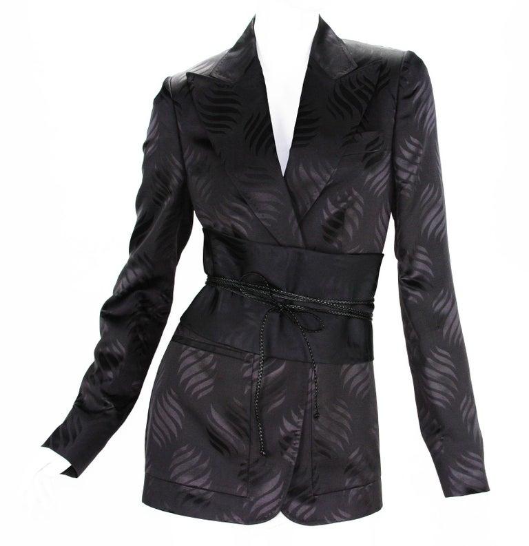 74adaa762 New Tom Ford for Gucci F/W 2002 Brown Silk Kimono Jacket with Obi Belt