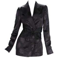 New Tom Ford for Gucci F/W 2002 Brown Silk Kimono Jacket with Obi Belt It. 40
