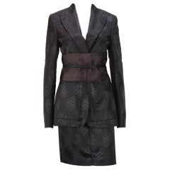 New Tom Ford for Gucci F/W 2002 Brown Silk Kimono Skirt Suit Obi Belt 42 - US 6