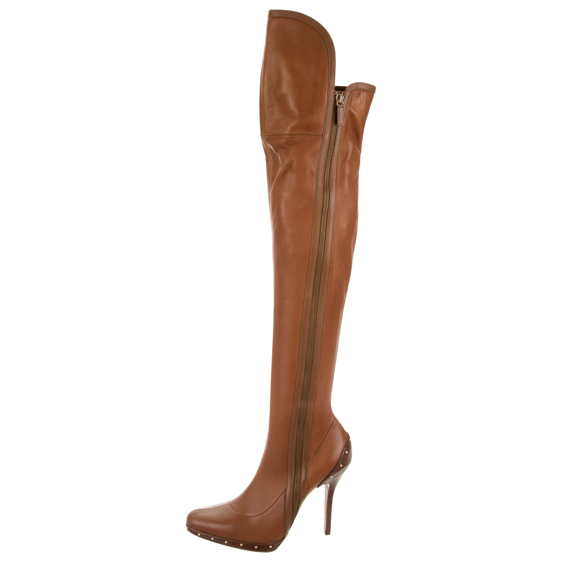 New Tom Ford for Gucci F/W 2003 Campaign Leather Over Knee Gold Studs Boots 9 B