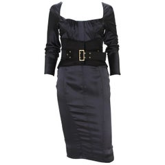 New Tom Ford for Gucci F/W 2003 Silk Black Corset Belt Cocktail Dress It.38