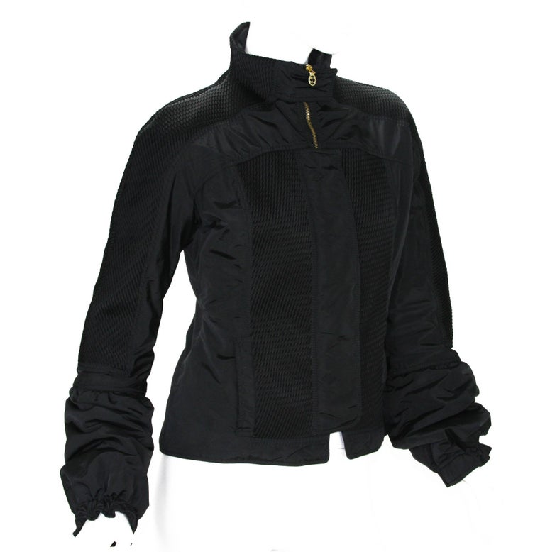 New Tom Ford for Gucci F/W 2004 Black Nylon Warm Jacket 44 In New Condition For Sale In Montgomery, TX