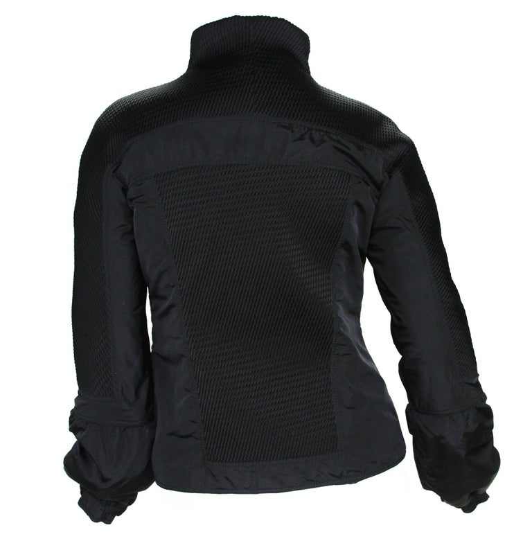 Women's New Tom Ford for Gucci F/W 2004 Black Nylon Warm Jacket 44 For Sale