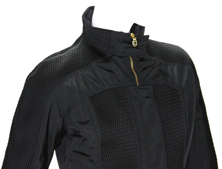 New Tom Ford for Gucci F/W 2004 Black Nylon Warm Jacket 44 For Sale 4