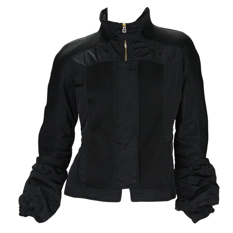 New Tom Ford for Gucci F/W 2004 Black Nylon Warm Jacket 44 For Sale